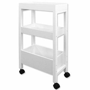 Küchentrolley  ♥ Küchenwagen mit Rollen ♥ MDF in Holz-Optik ♥ Kunststoffrollen ♥ Weiß