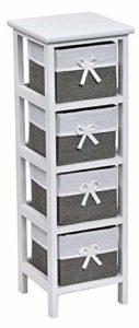 Badezimmer Regal Schmal ♥ Standregal Schmal ♥ Struktur aus Paulownia-Holz - Körbe aus geflochtenem Papier und Stoff. ♥ Weiß  ♥ Grau