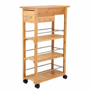 Küchenhilfe ♥ NISCHENWAGEN SCHMAL ♥ Regal: Bambus ♥ Räder: Kunststoff ♥ Braun
