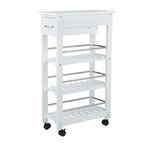 Küchenhilfe ♥ NISCHENWAGEN SCHMAL ♥ Regal: Bambus ♥ Räder: Kunststoff ♥ Weiß