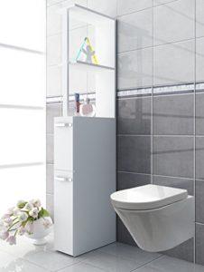 VCM Nischenschrank ♥ Nischenschrank ♥schmaler Badezimmerschrank ♥ Holzstruktur Nachbildung ♥ Weiß