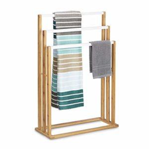 Relaxdays Bambus treppenförmiger Handtuchhalter  ♥ Handtuchhalter ♥ Badregal mit Handtuchhalter