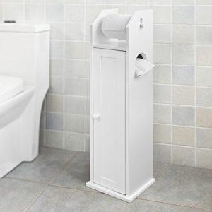SoBuy Freistehend weiß Toilettenrollenhalter FRG135-W ♥ Seitenschrank ♥schmaler Badezimmerschrank ♥ MDF ♥ Weiß
